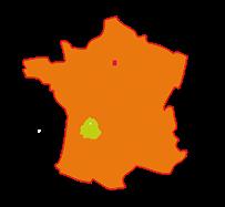 Périgord vert sur carte de France