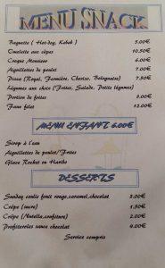 Menu au snack bar du camping l'Agrion Bleu