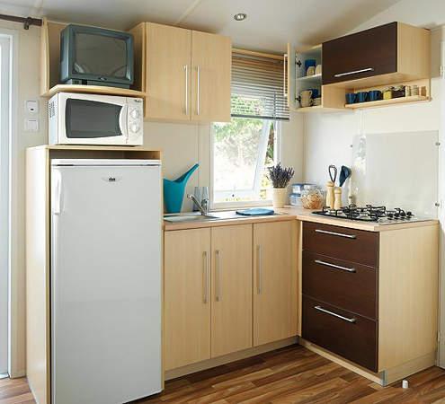 Mobil home familial cuisine quip e camping l 39 agrion bleu for Cuisine equipee bleu